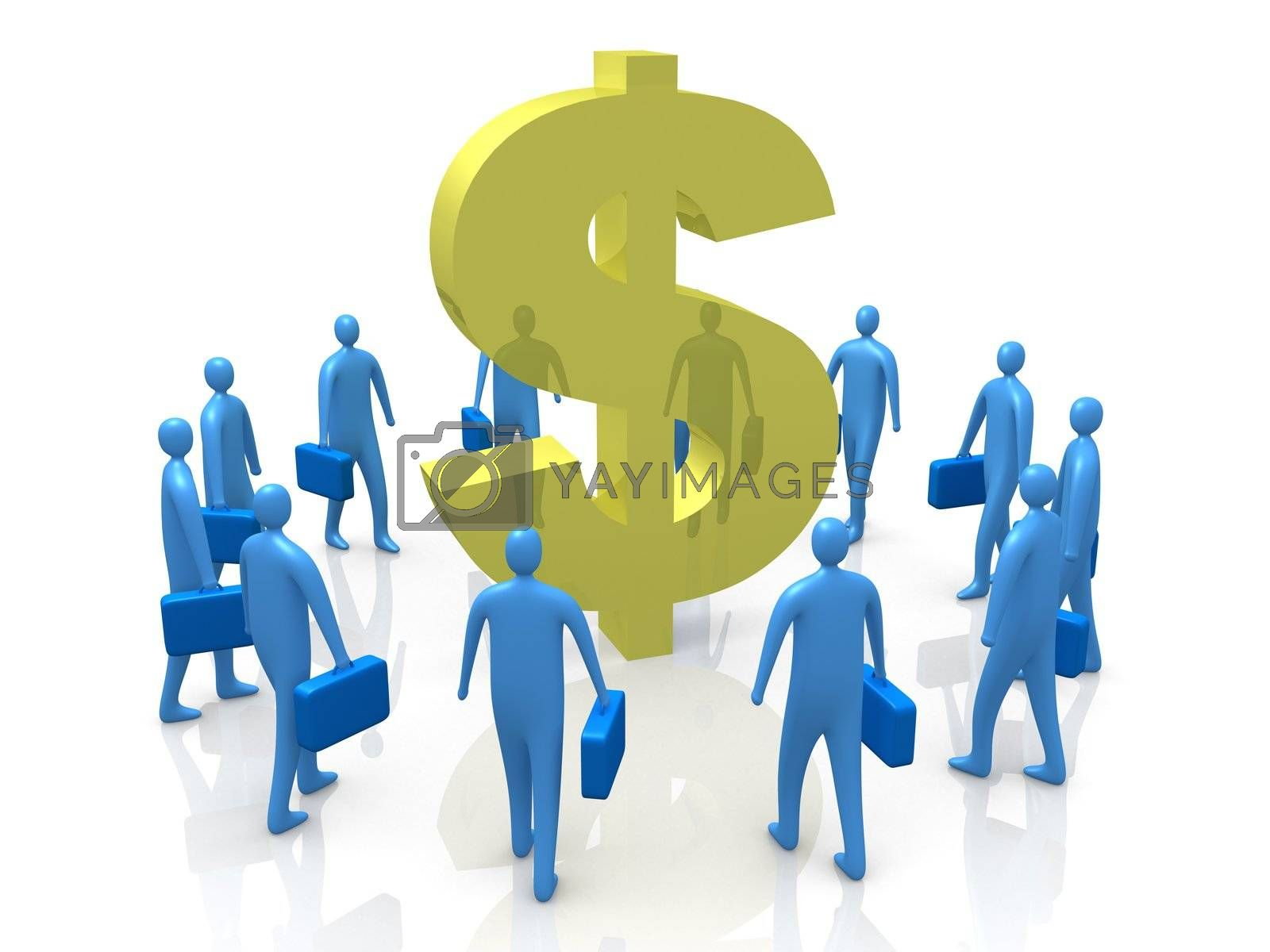 Business People Gathering Around A Dollar Symbol.