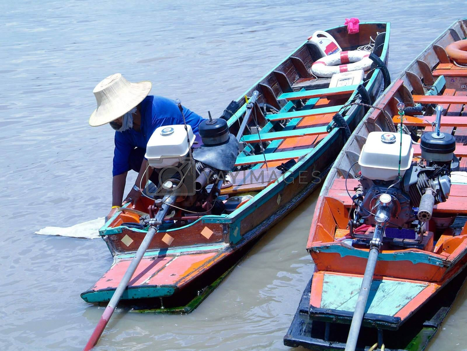 Royalty free image of Two boats in Bangkok by epixx