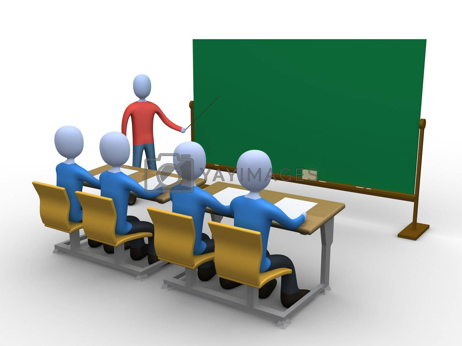 3d person teaching a class. Blackboard is empty for you to add whatever you like.