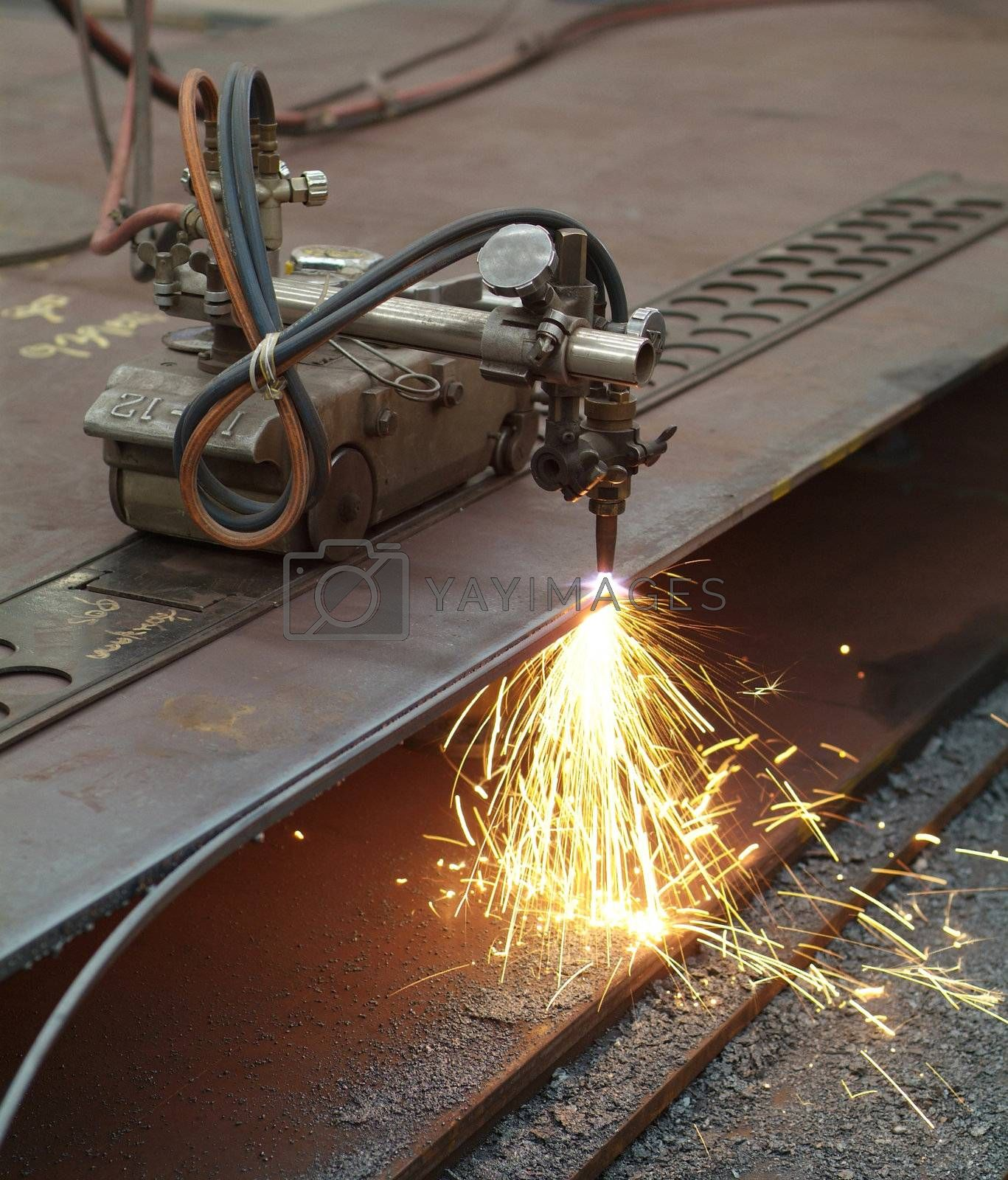 Royalty free image of Cutting of steel plates by epixx