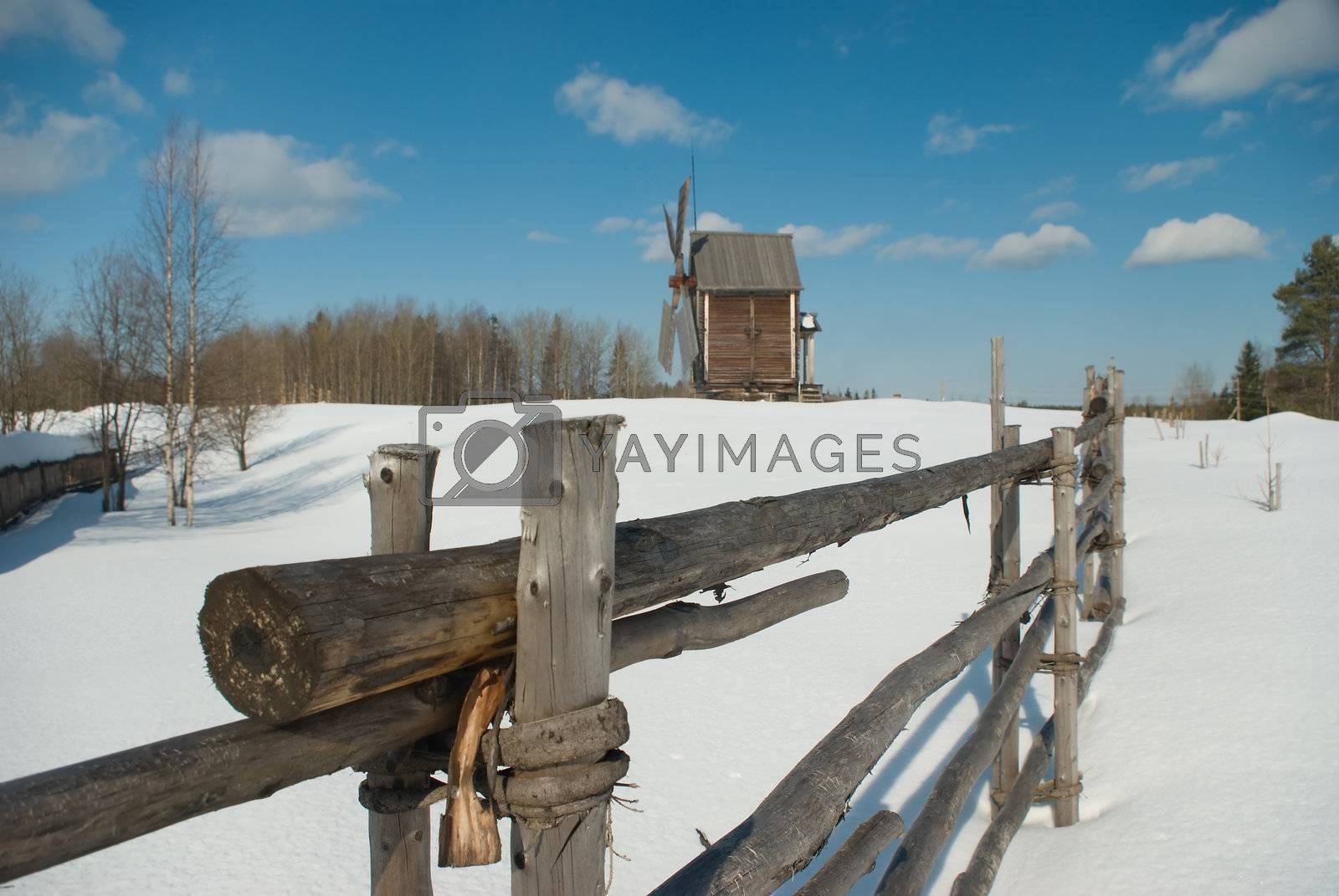winter rural russian landscape,traditional type to north Russia