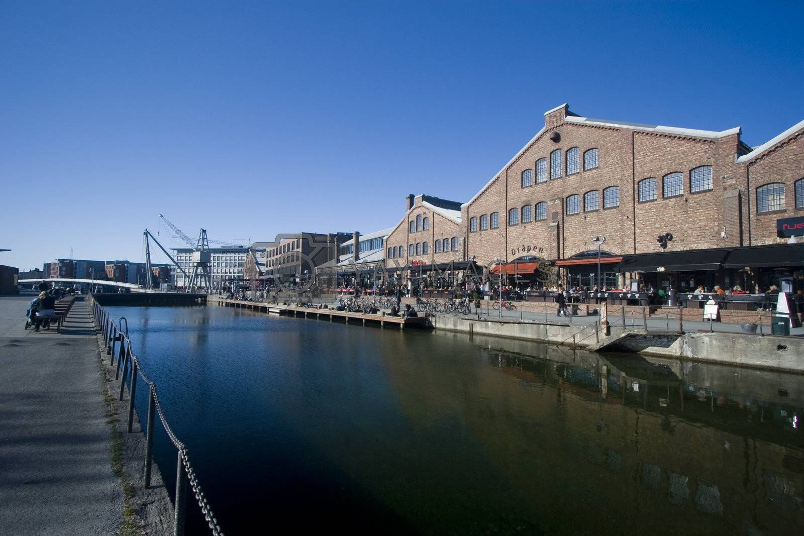 Solsiden, a modern recreational and business center in Trondheim, Norway.