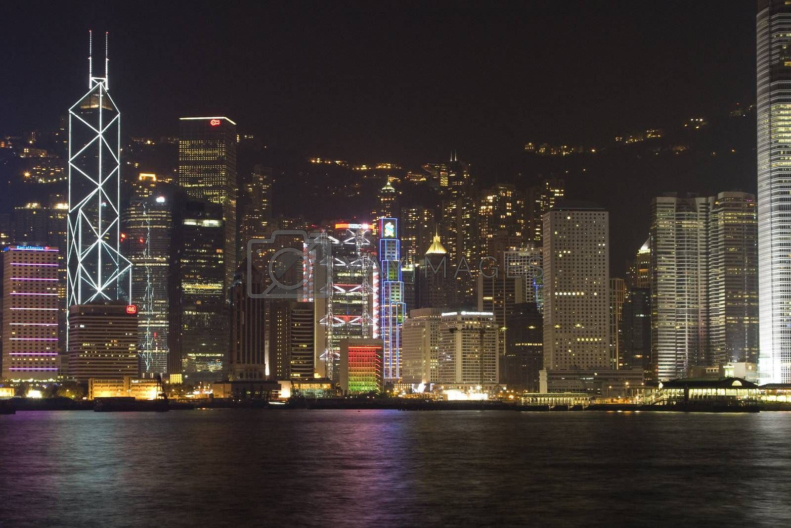 The famous skyline of Hong Kong island, seen from Kowloon.