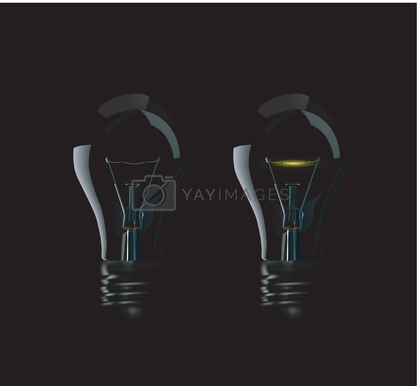 Beautiful photorealistic vector lamps on black background