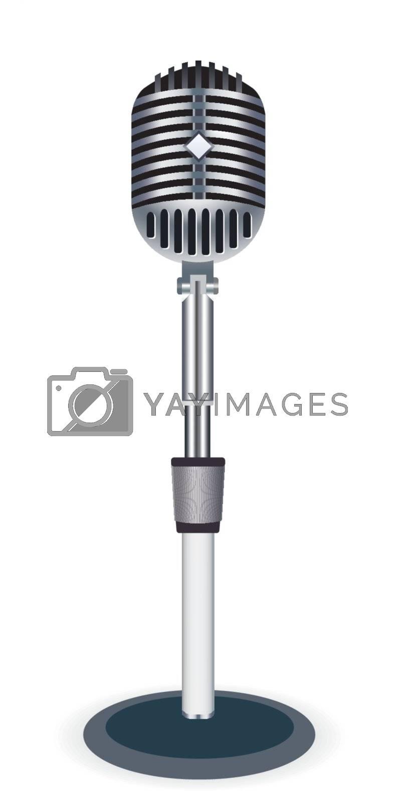 Beautiful Retro Black Vector Microphone Over White