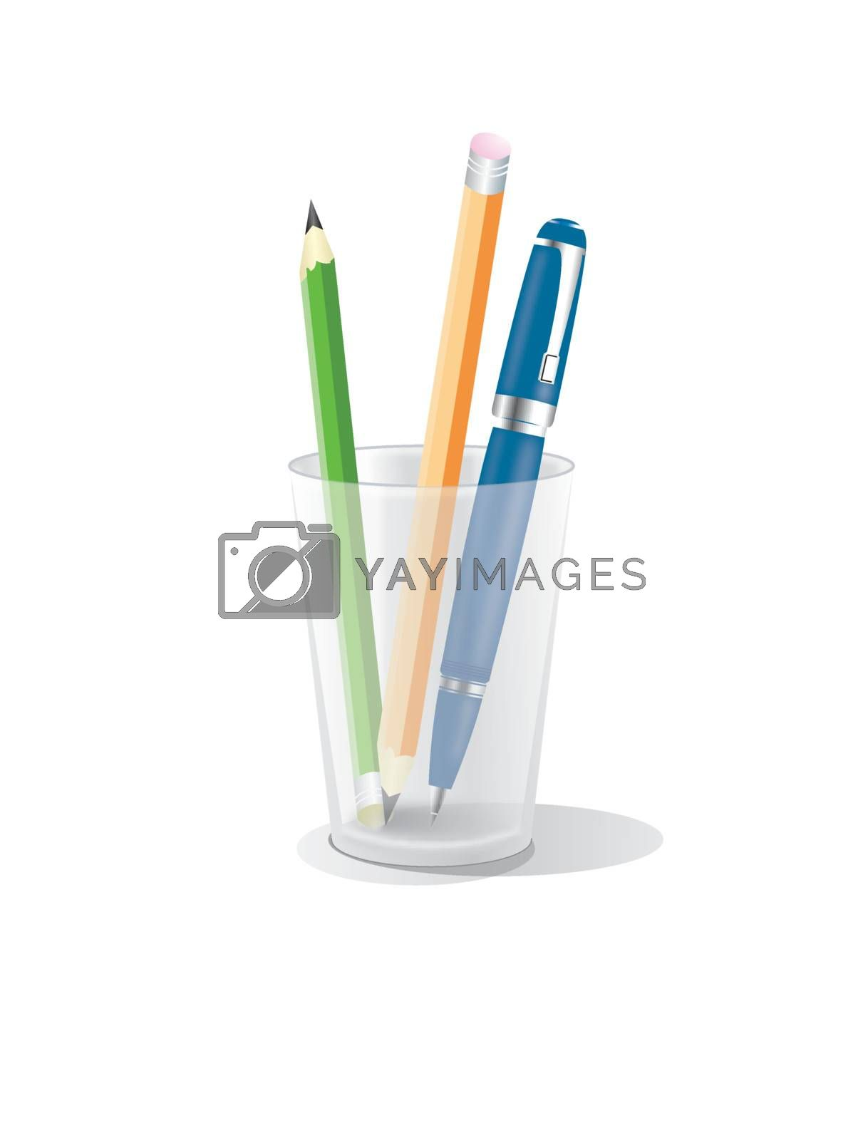 Glass with pencils and pen on white background