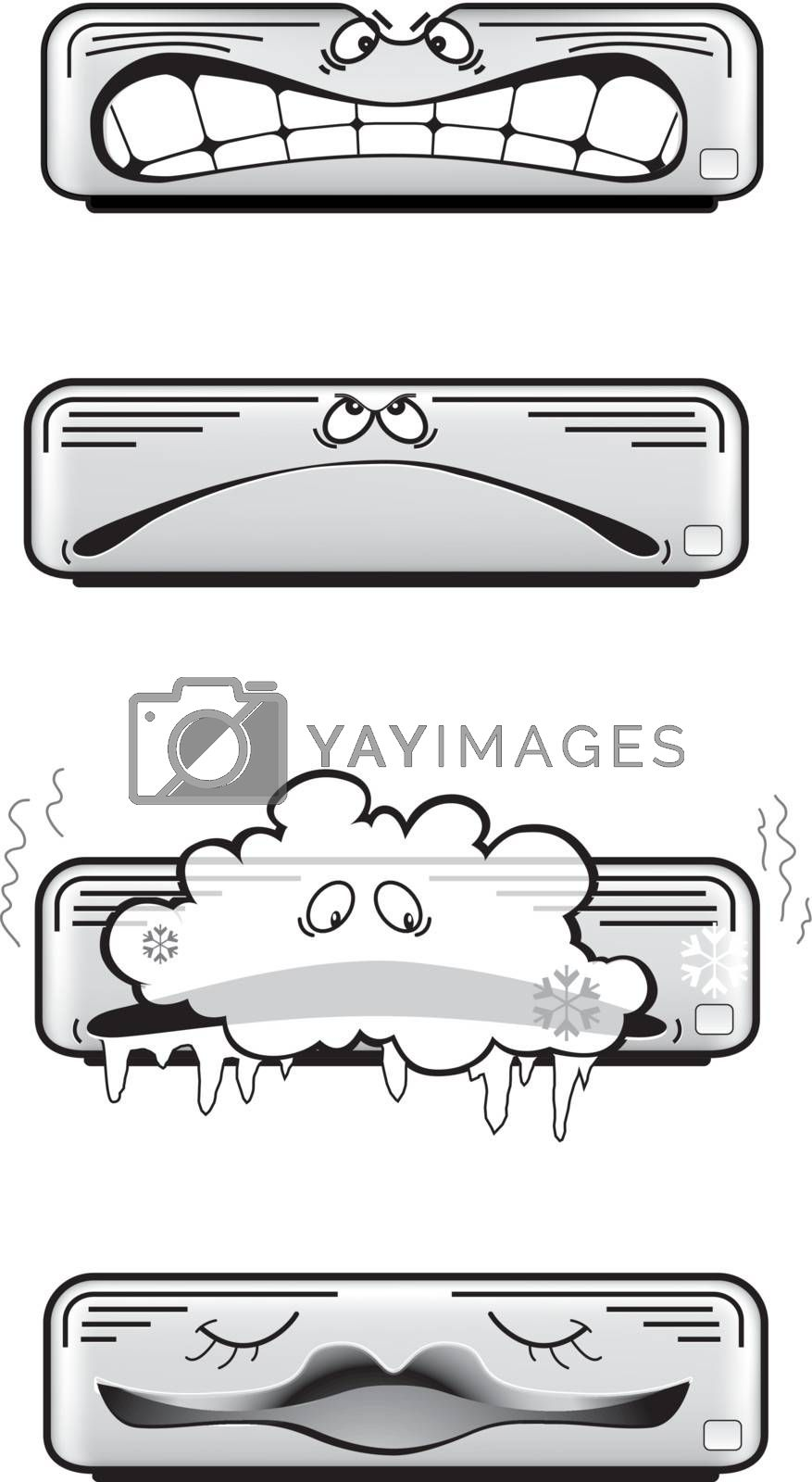 Air conditioner vector icons isolated on white