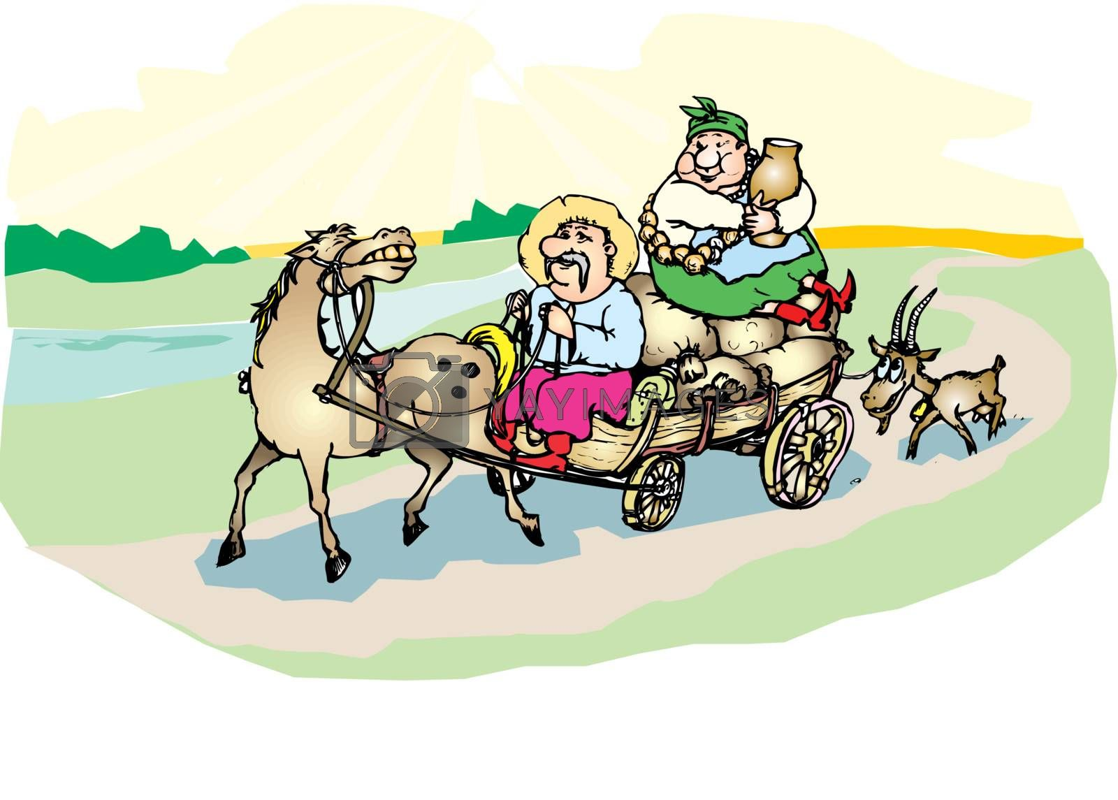 Ukrainian kozak with a wife goes by a horse