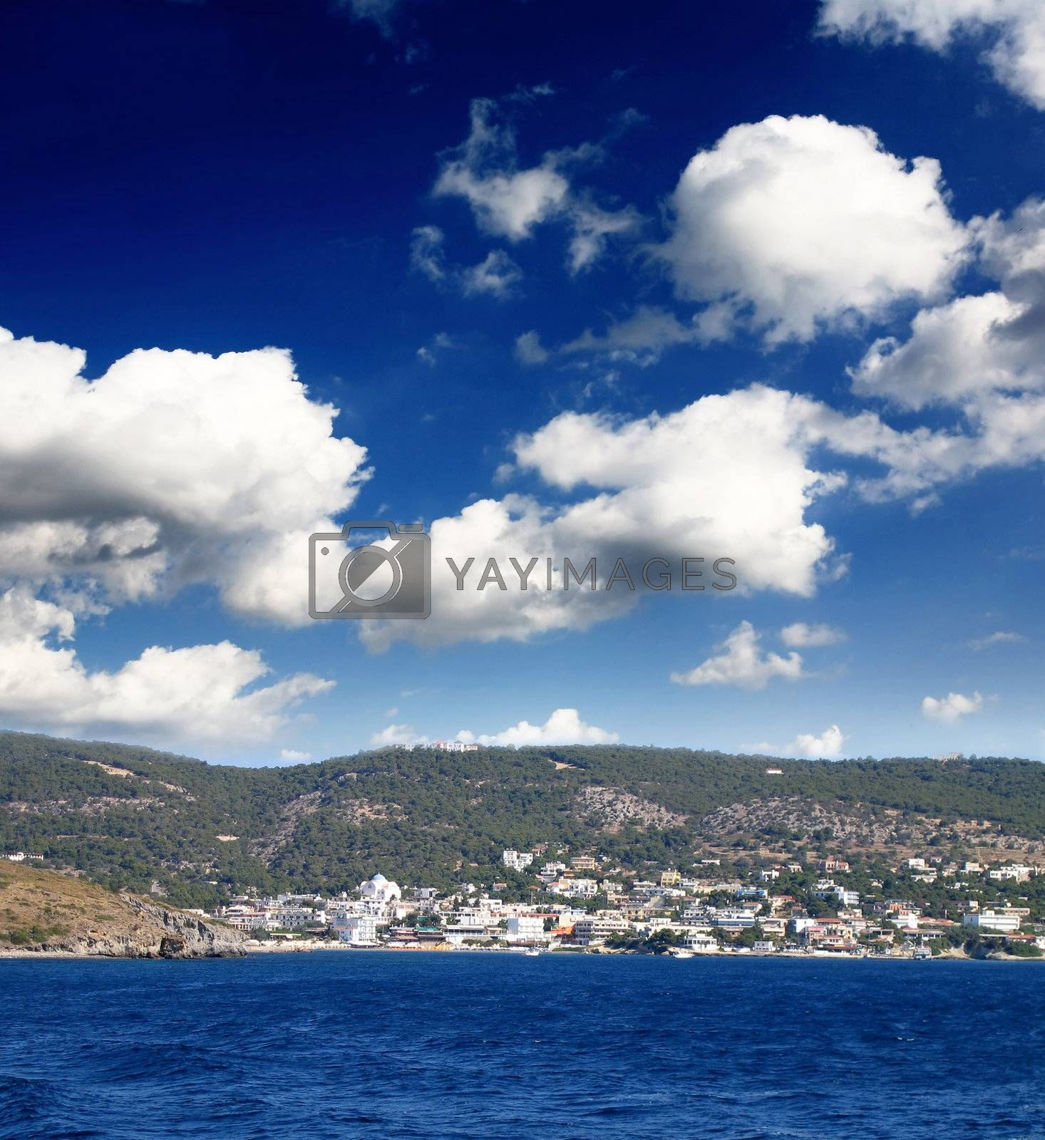 The scenery of  Greece island under sunny sky