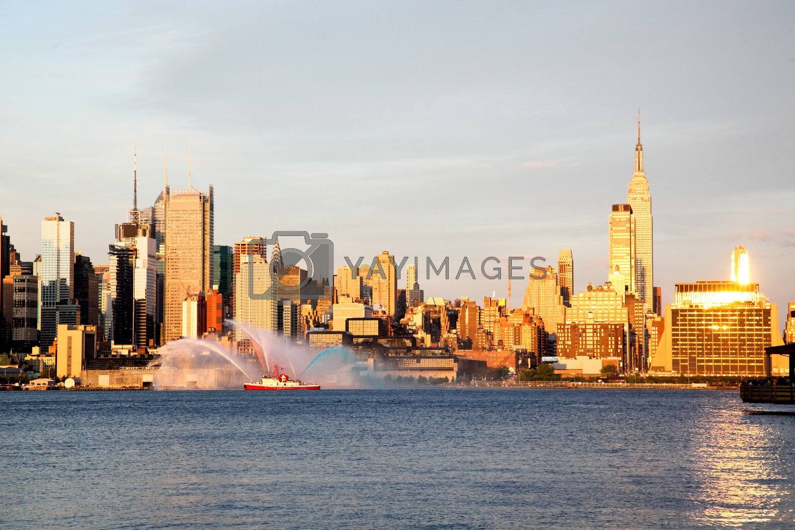 NEW YORK CITY - JULY 4, 2009: Fireboat water spree prior to Mary's 4th of July fireworks