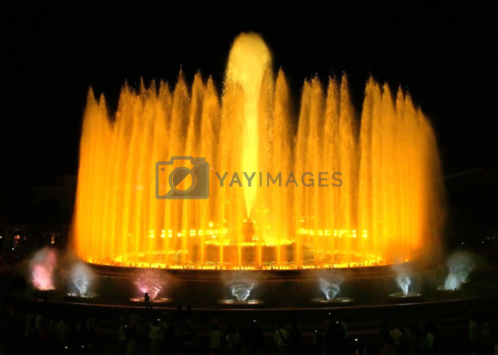 Montjuic (magic) fountain in Barcelona at night