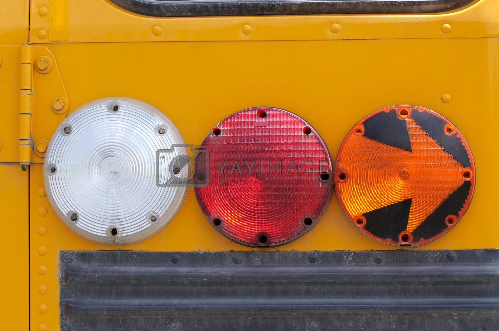 Rear flashers and arrow on a school bus