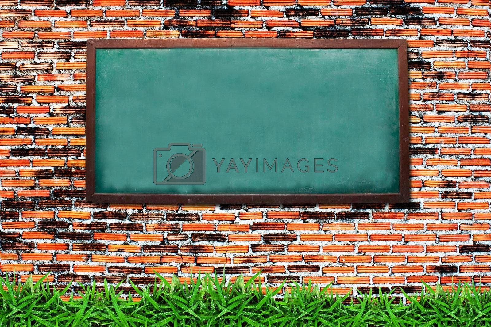 Chalkboard and green grass on grunge brick wall