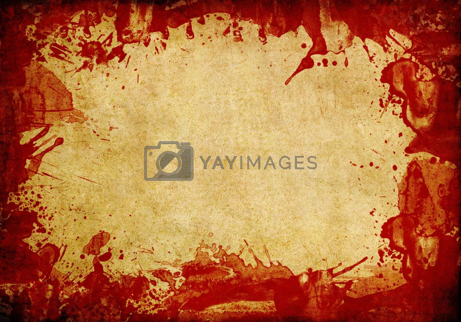 Old paper background with red blood splash