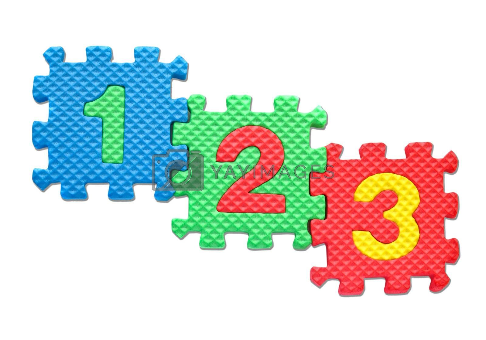 Number puzzles isolated on white background