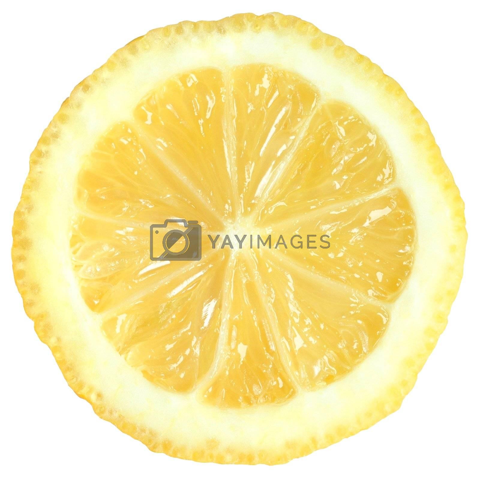 Macro of lemon half isolated on white