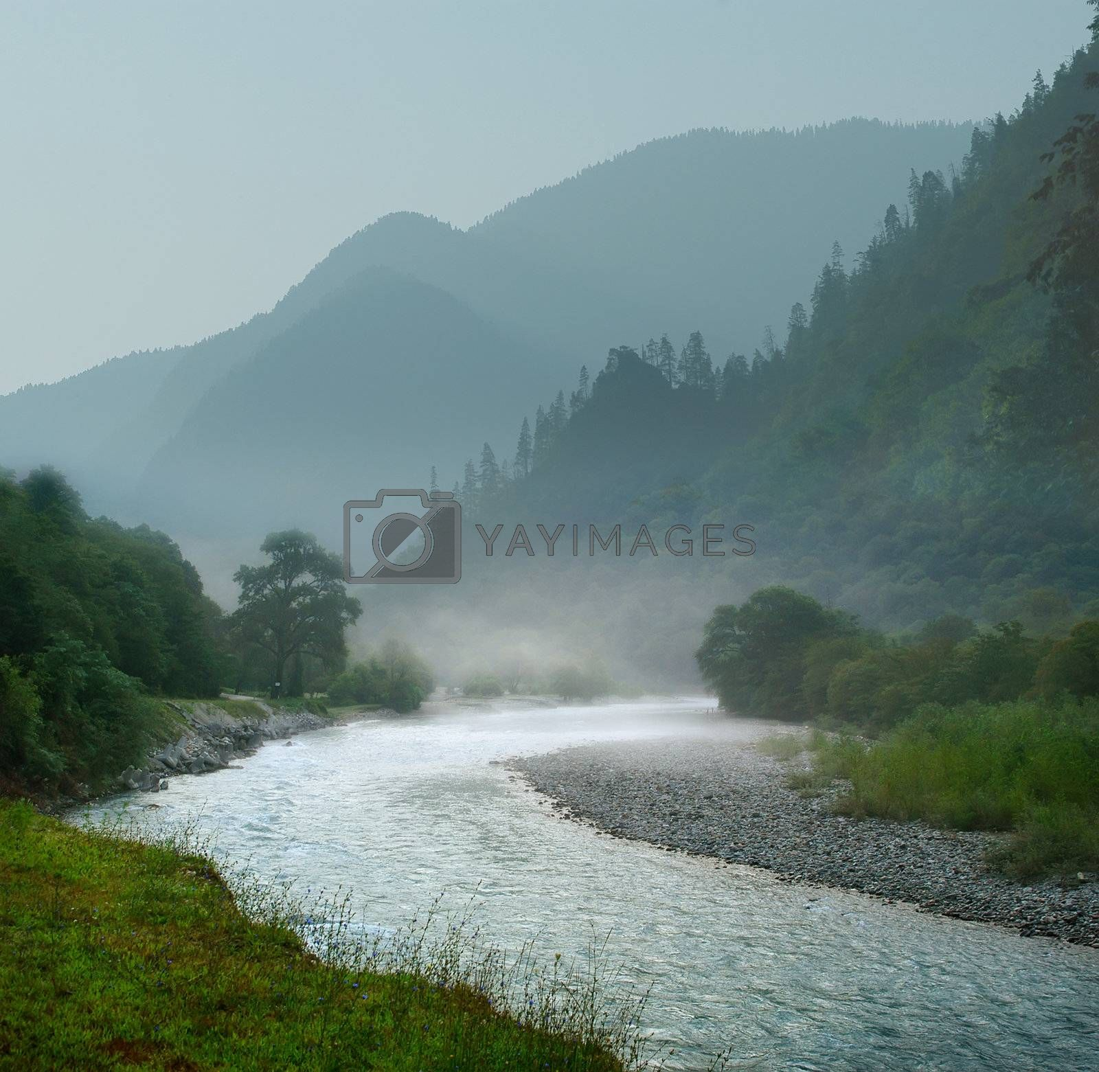 Royalty free image of Mountain landscape with the rapid river by oleg_zhukov