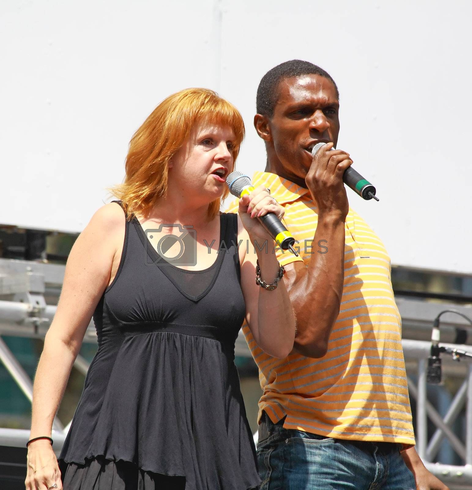 NEW YORK - AUGUST 7: Annie Golden and Andre Ward performed Xanadu at The Broadway in Bryant Park in NYC - a free public event on August 7, 2008