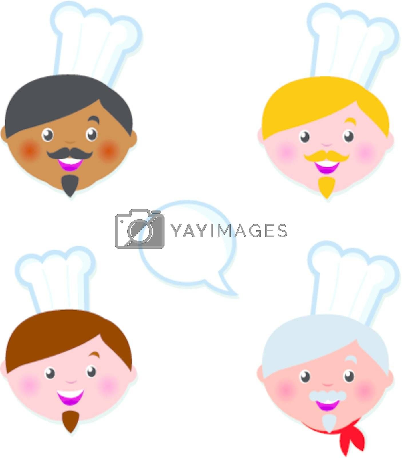 Cute multicultural Cheef icons - isolated on white