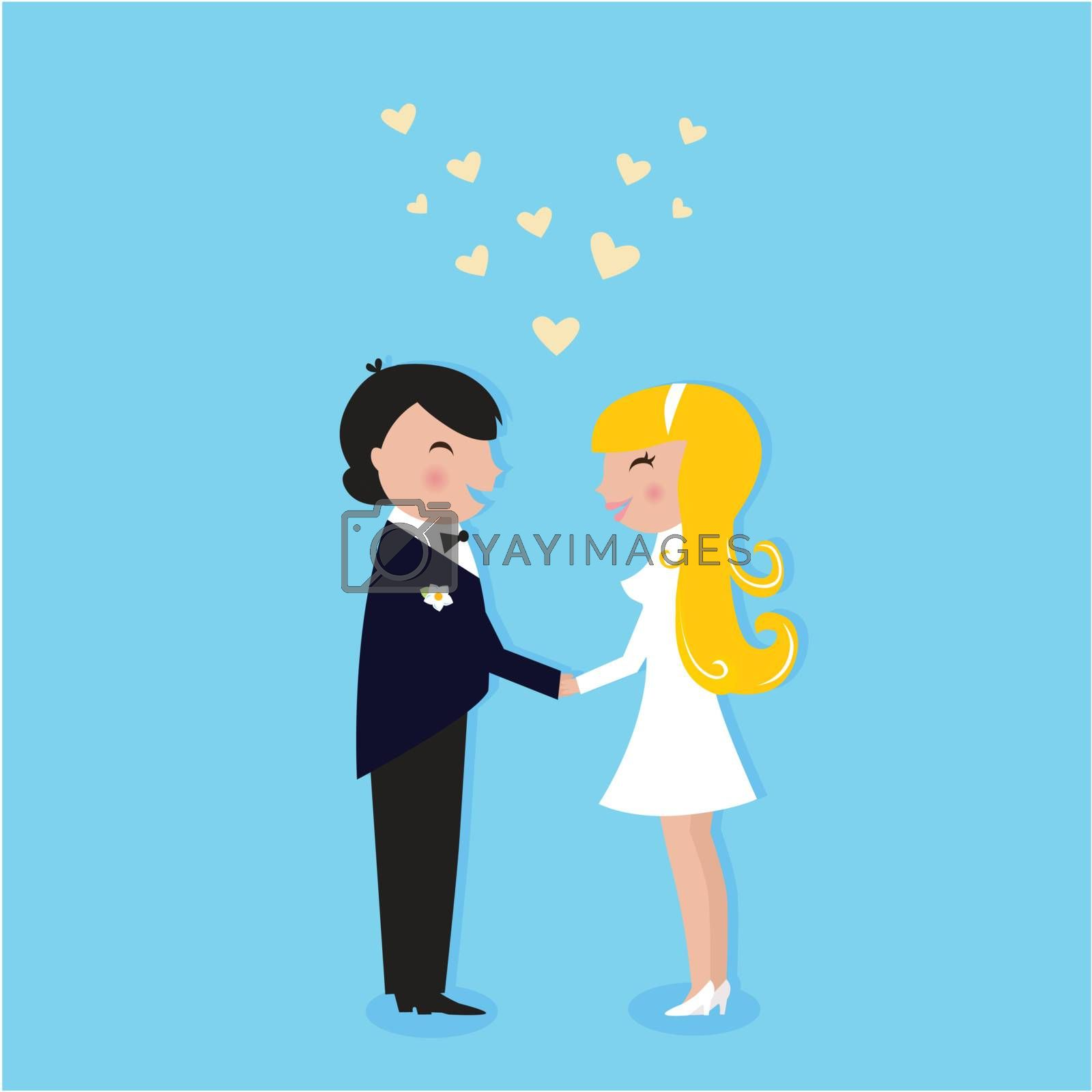 Cute Bride and Groom. Vector illustration.