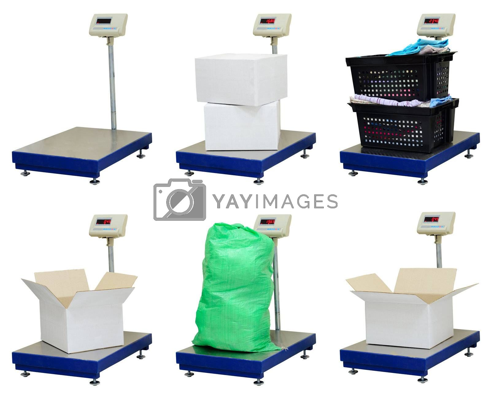 Modern elecrtonic platform scales with different objects isolated over white background