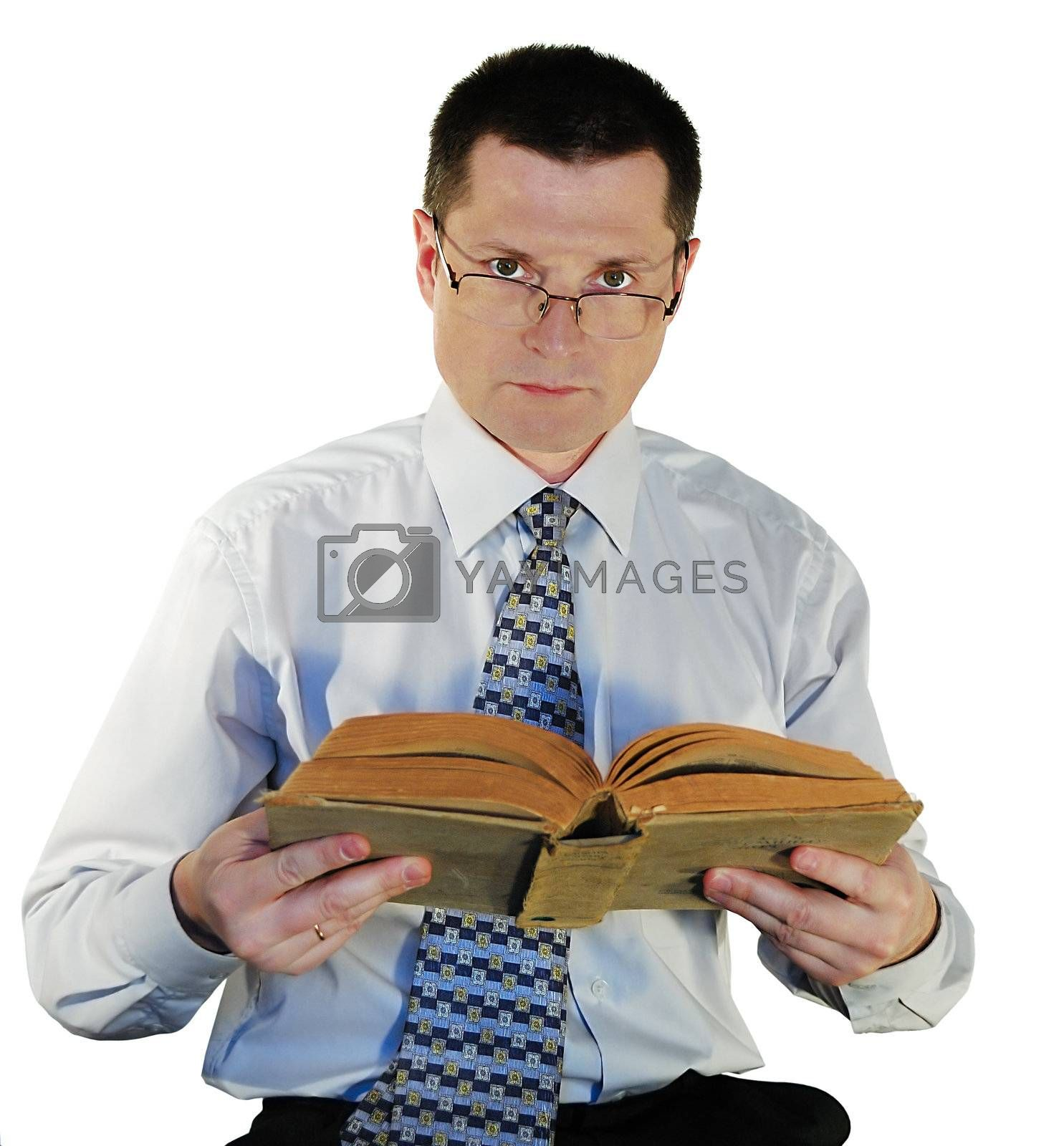 man with a age-old books, isolated on a white background