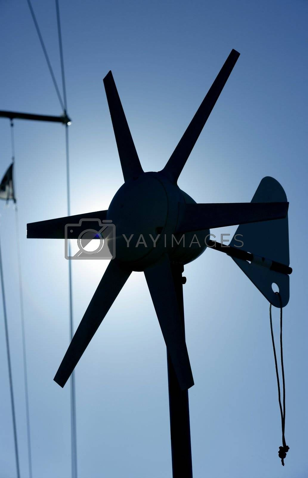 Royalty free image of Boat electric air generator. Little wind mill by lunamarina