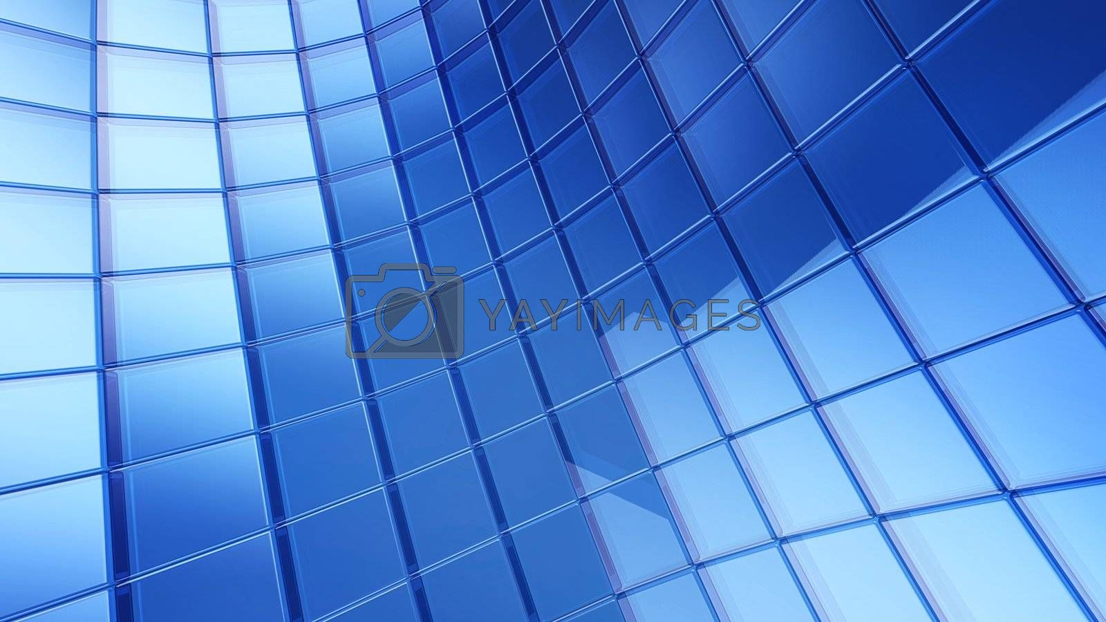 futuristic 3d blue cube plate abstraction background with conceptual design