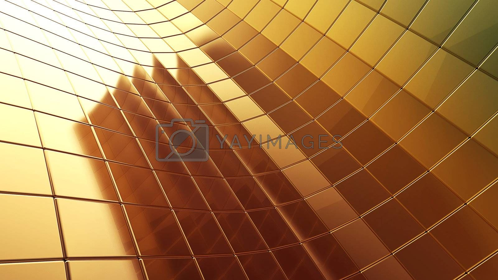 golden futuristic 3d plate abstraction background with conceptual design