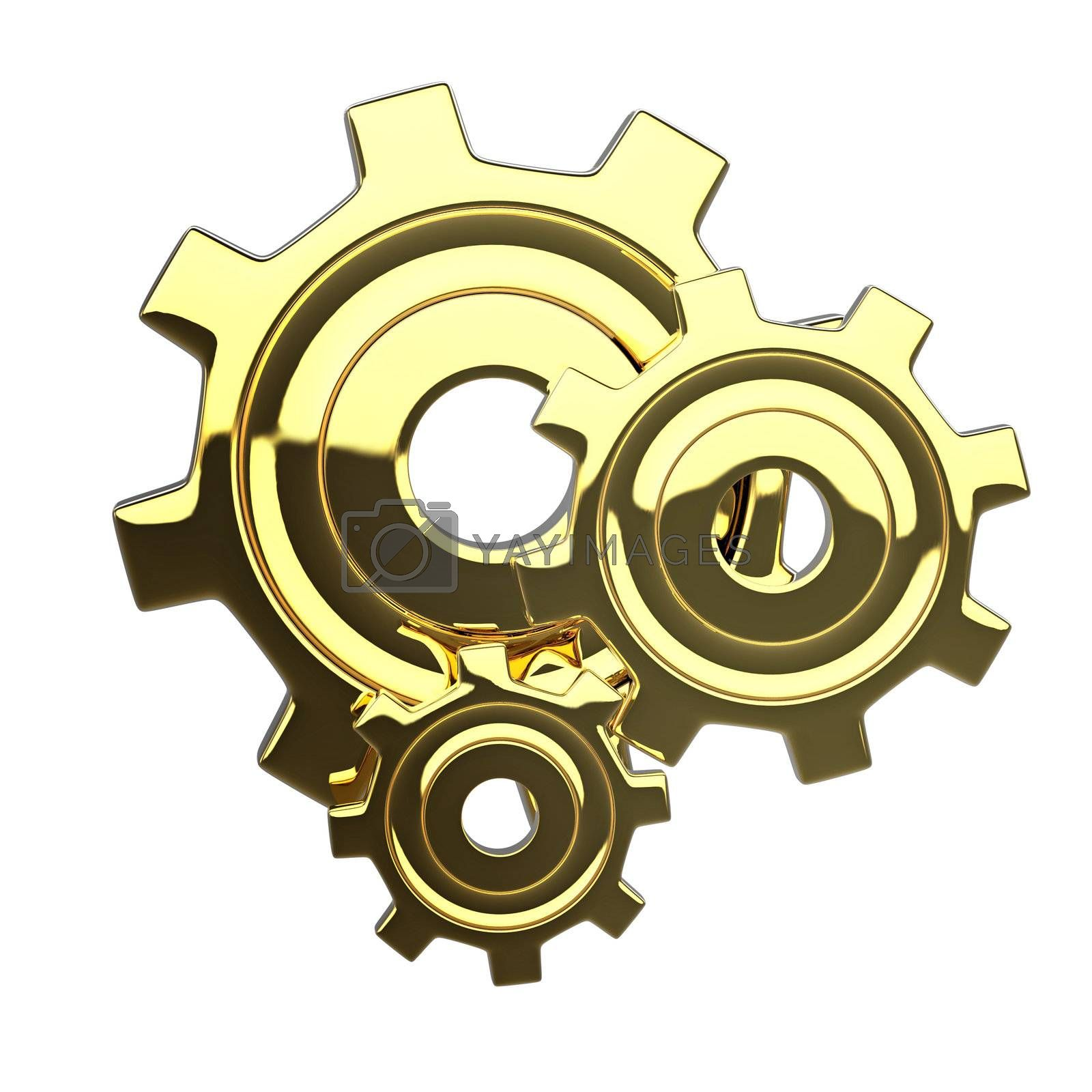Golden 3D stile reflected isoleted gears with conceptual composition