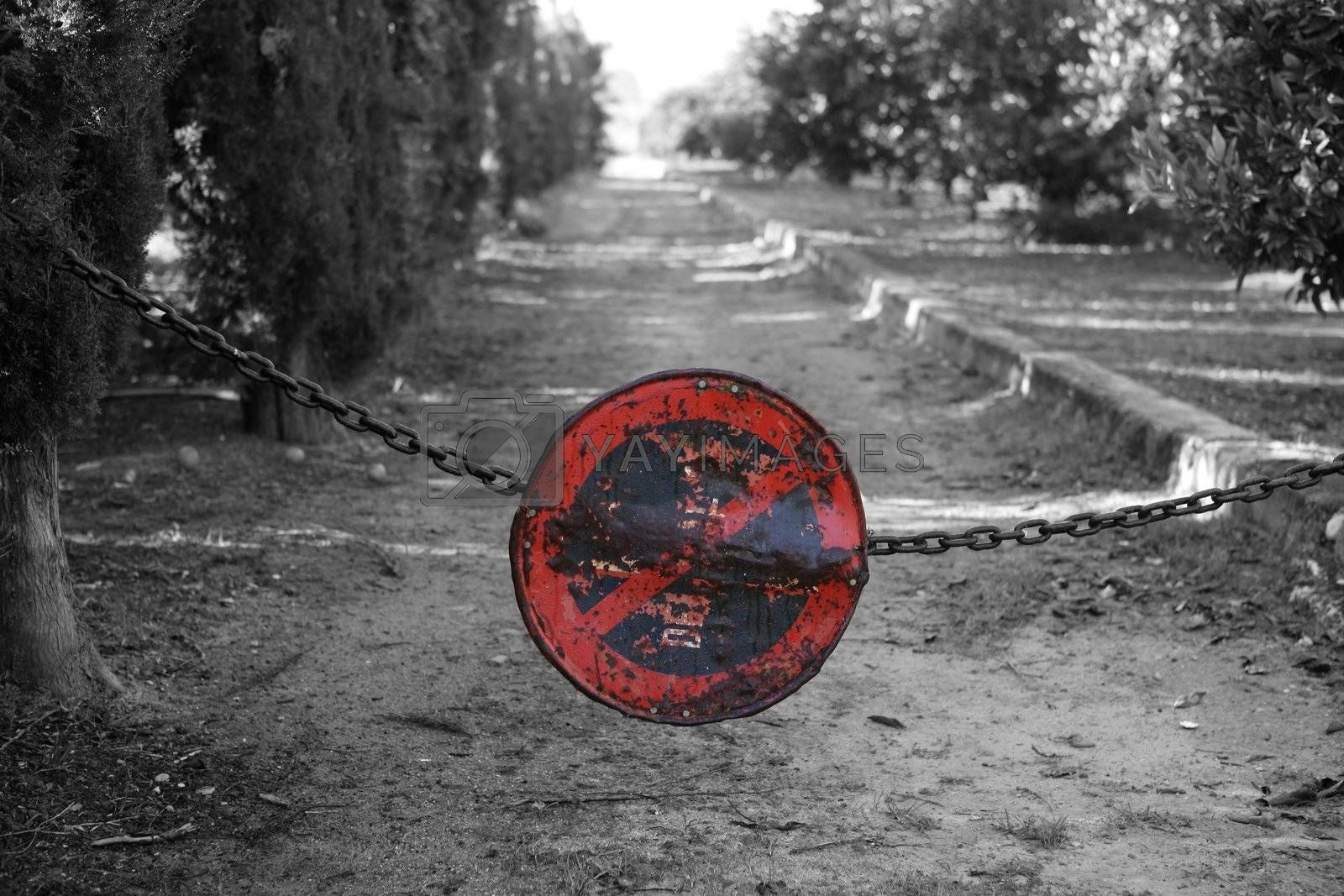 Royalty free image of do not pass, do not parking, chain crossing way by lunamarina