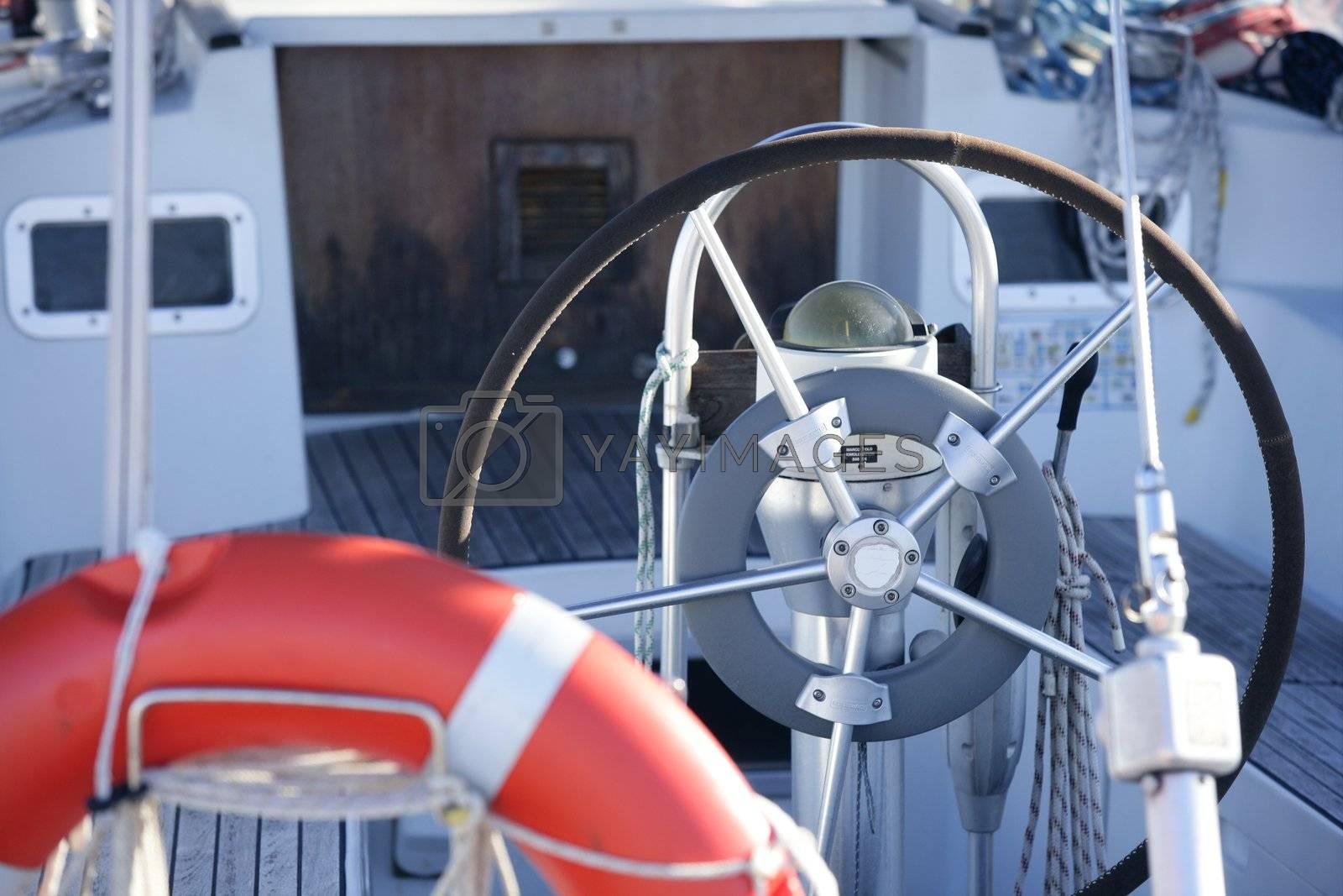 Royalty free image of Boats details on mediterranean marina by lunamarina