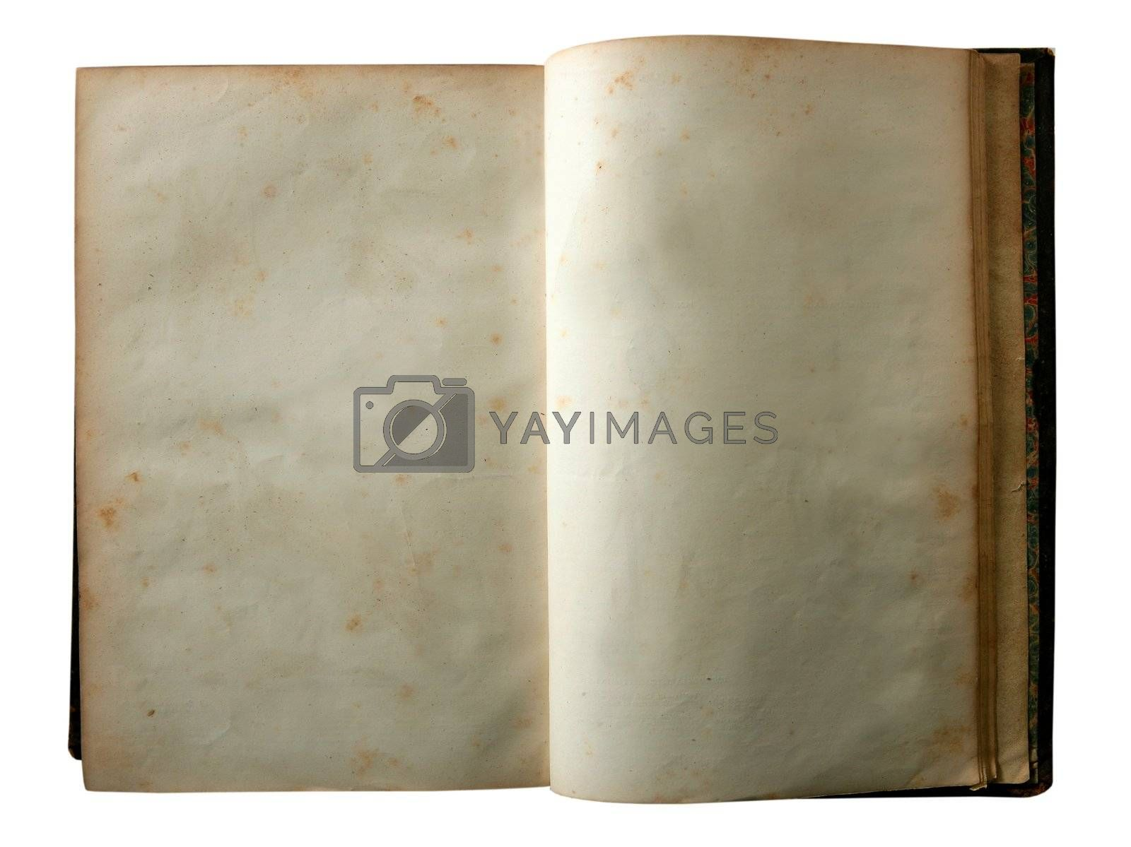 Royalty free image of Aged old open blank copy space book by lunamarina