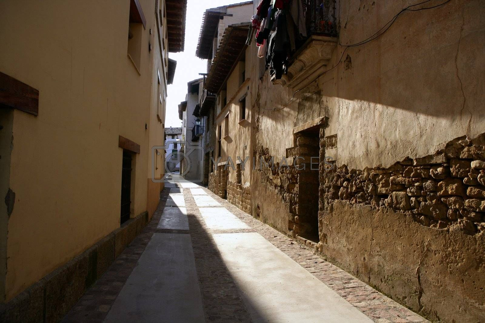 Royalty free image of Nice old village from Spain, beam of light by lunamarina