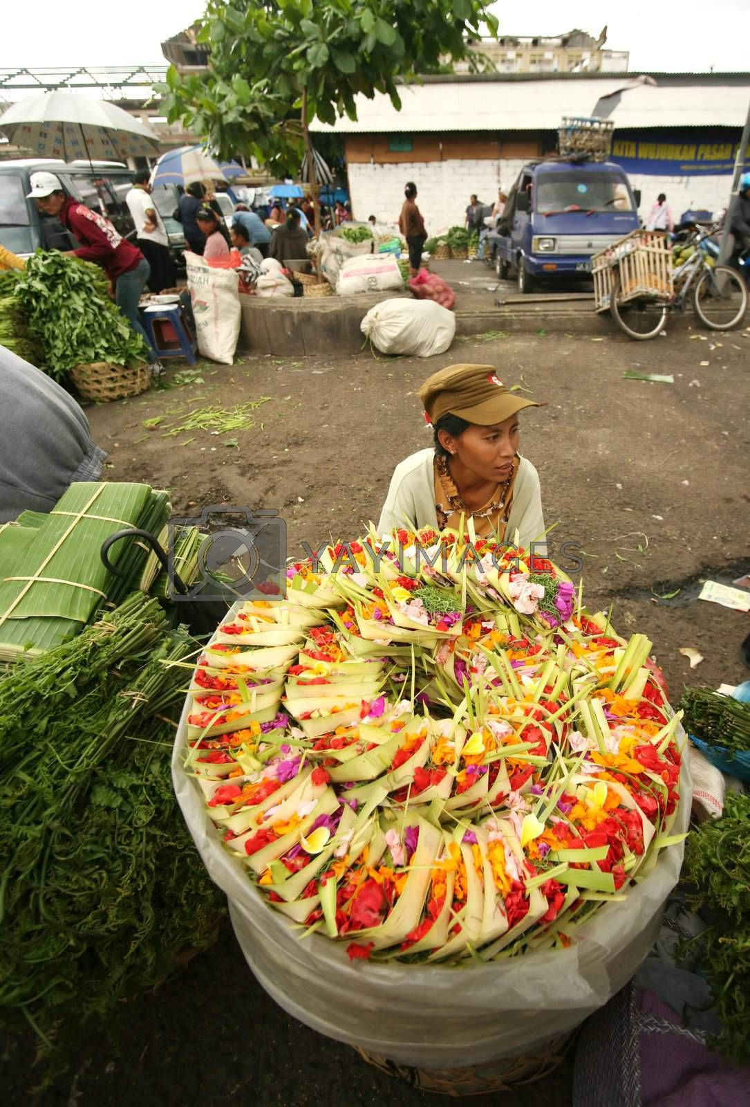 The young Indonesian girl sells baskets for sacrifice. Bali. Indonesia