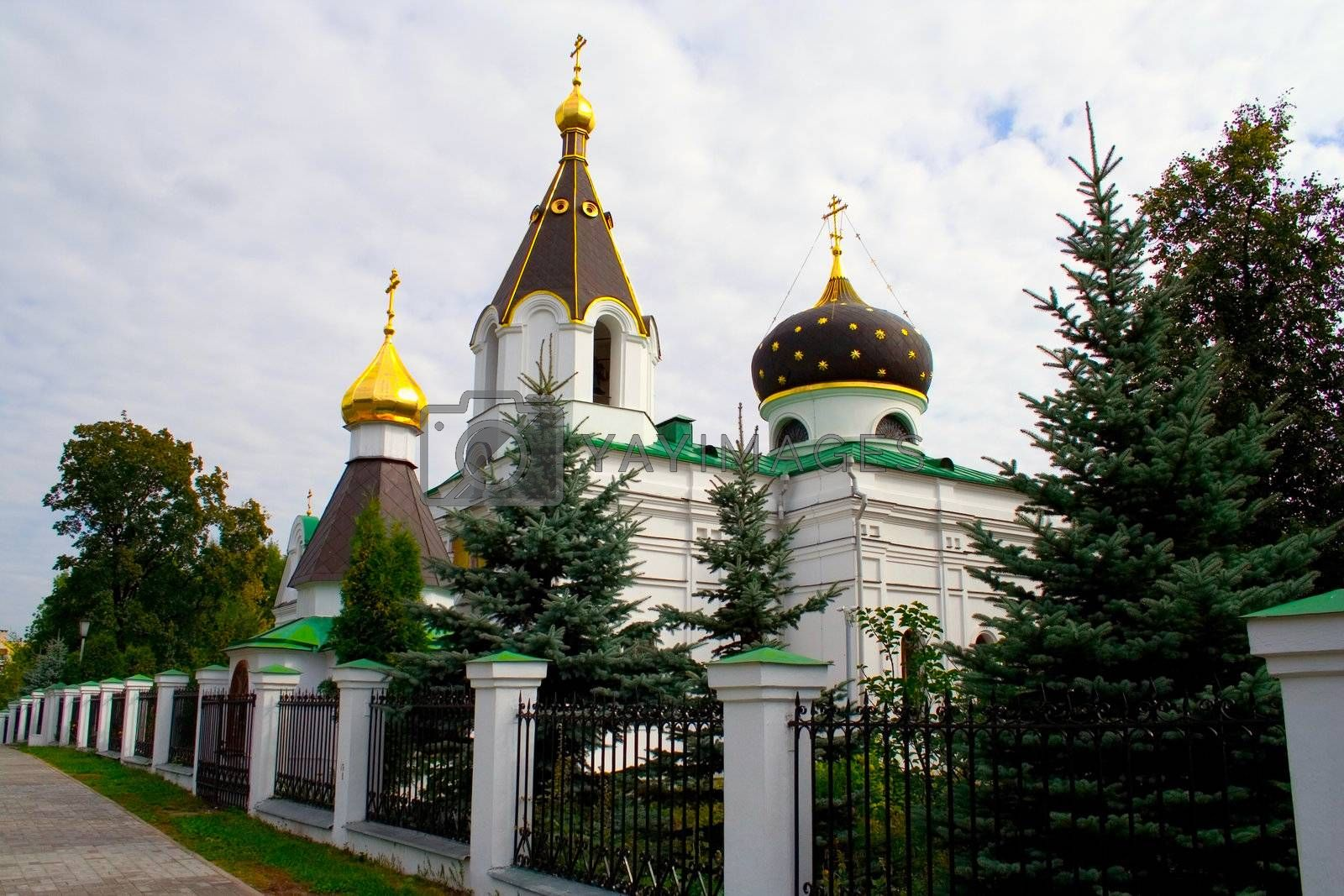 small church with firs