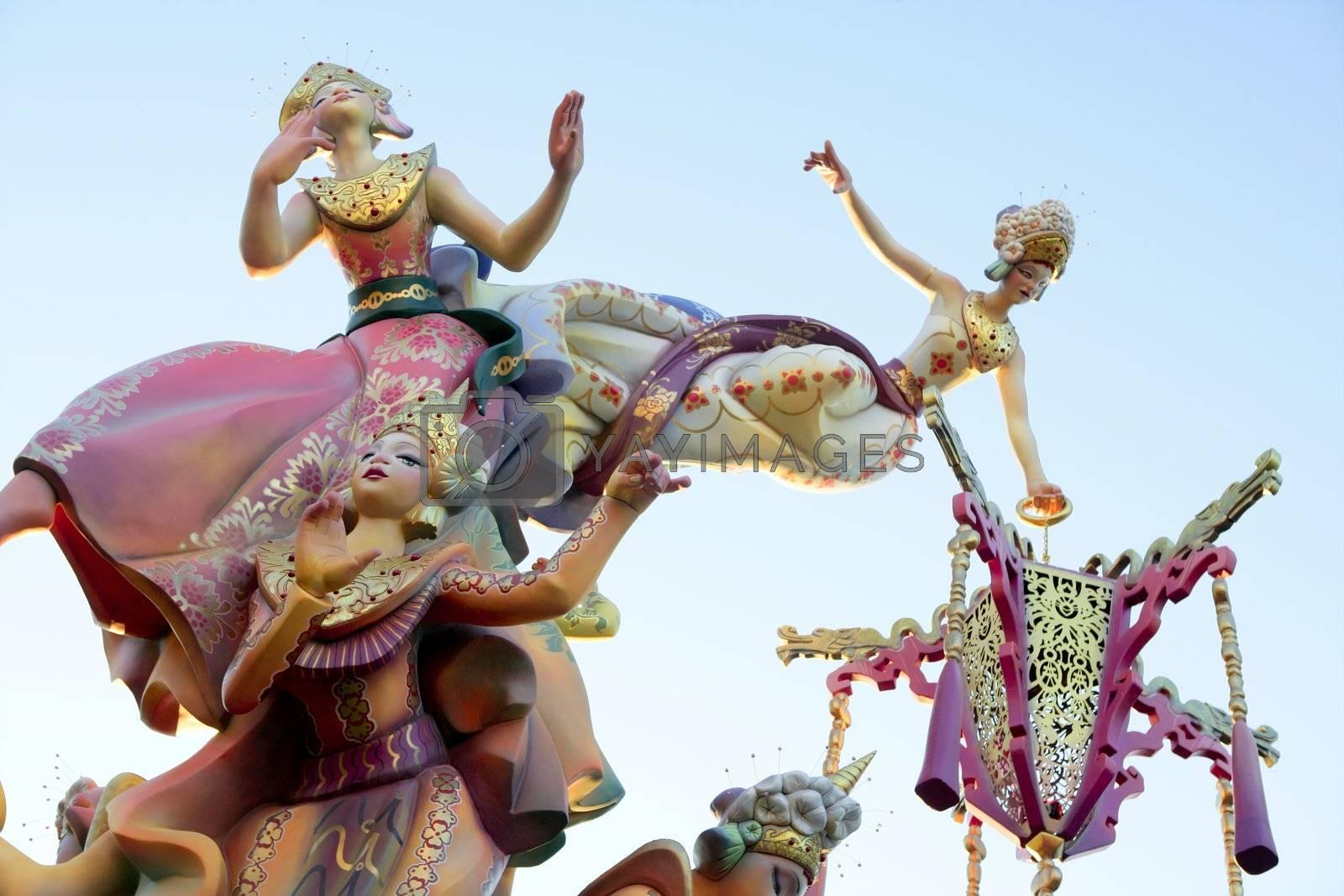 Fallas from Valencia, Spain celebration cartoon figures by lunamarina