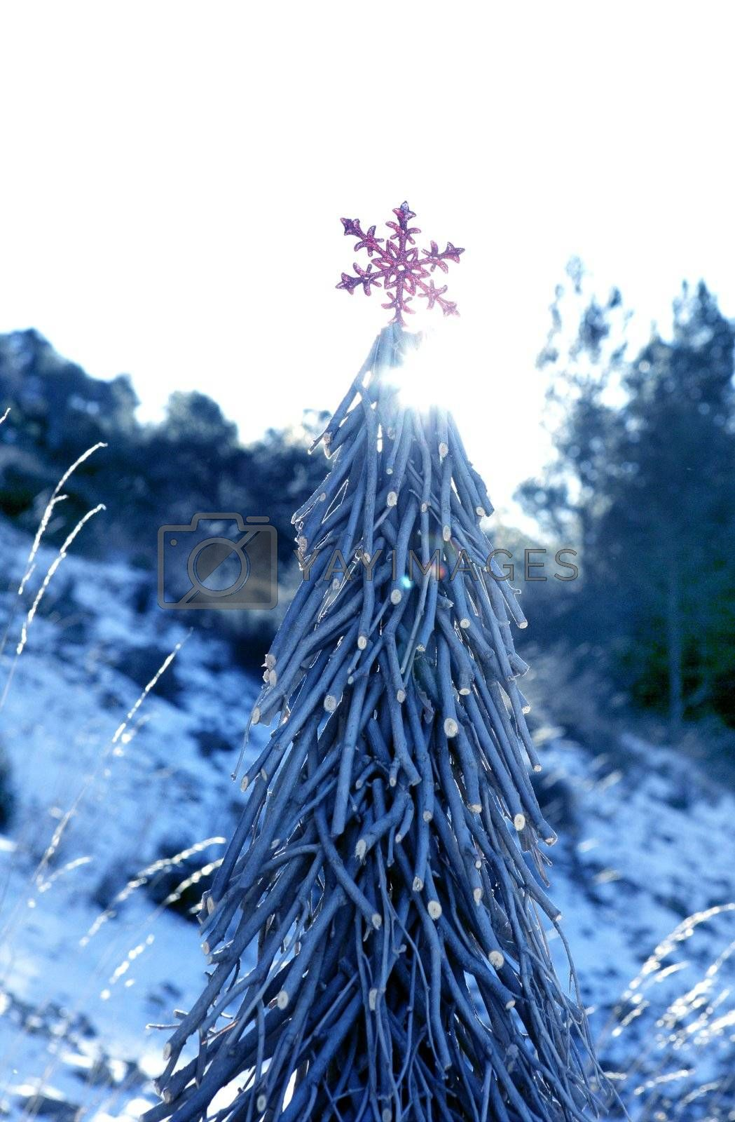 Royalty free image of Christmas red star in a snow day by lunamarina