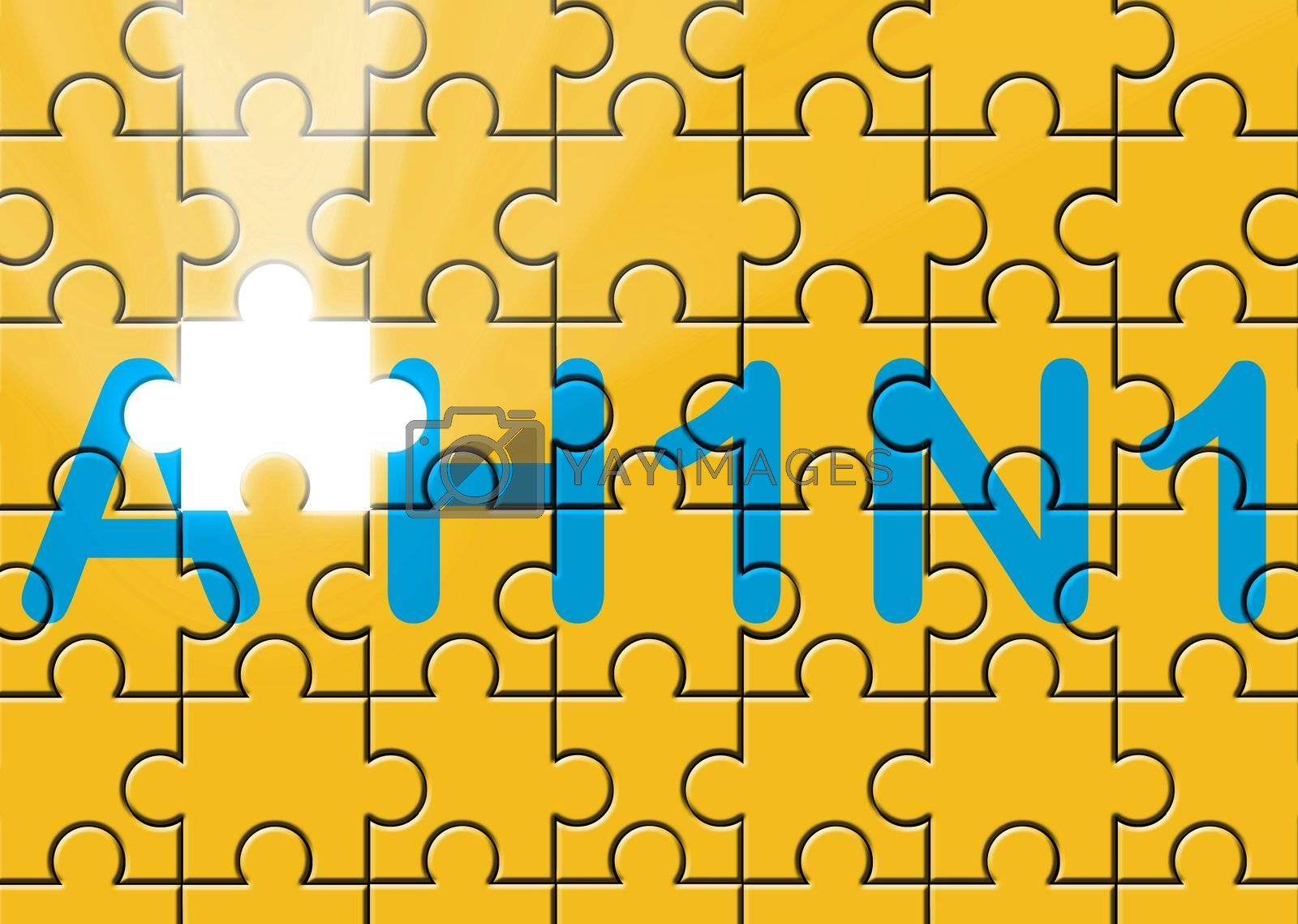 Royalty free image of puzzle with missing piece swine AH1N1 text by lunamarina