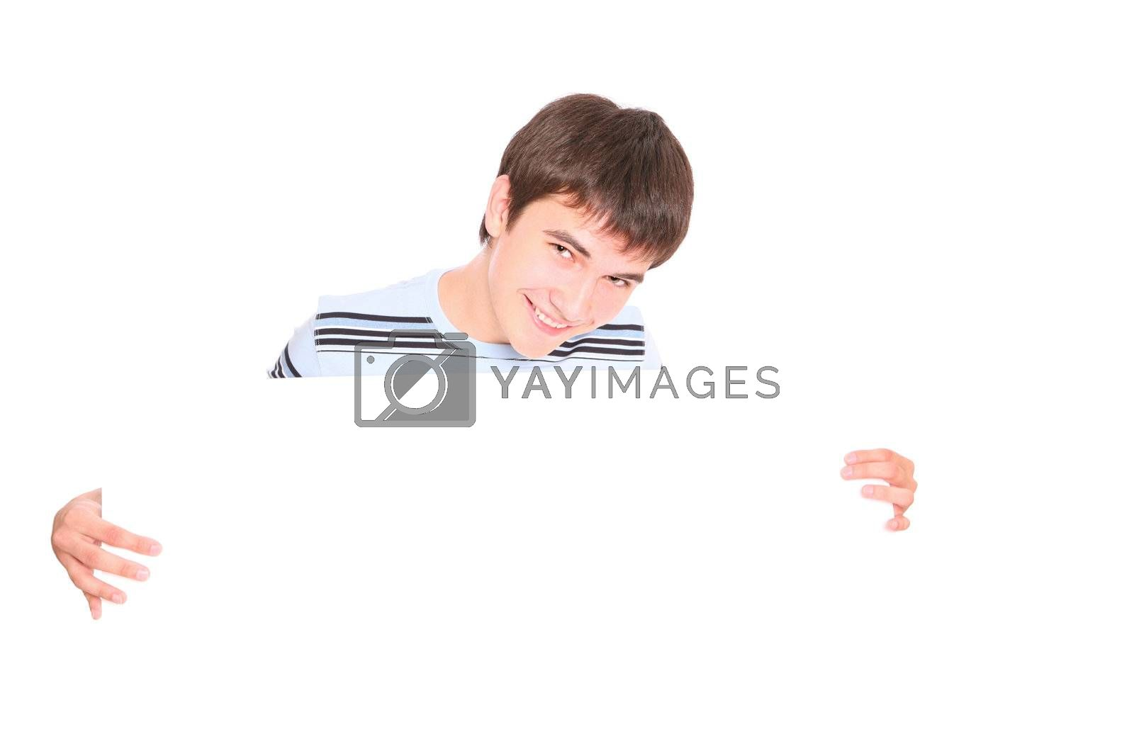 Royalty free image of Portrait of a guy with a blank by Elena_Vyacheslavovna