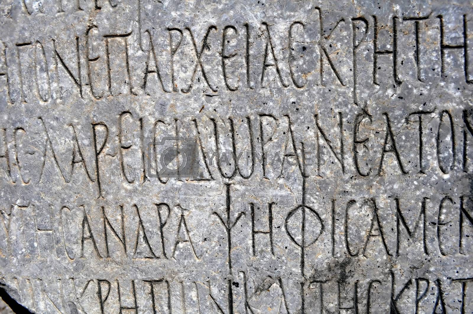 Royalty free image of Archaeological site of Gortyn, Crete. Ancient Greek writing by FER737NG