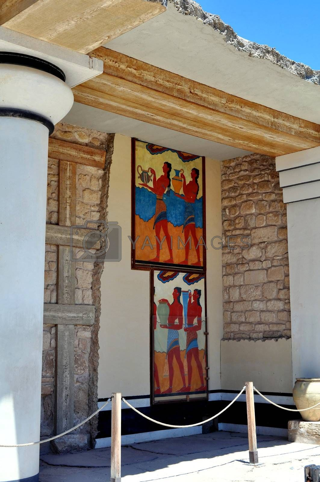 Royalty free image of Ancient ruins and frescos at the Knossos Palace in Crete by FER737NG