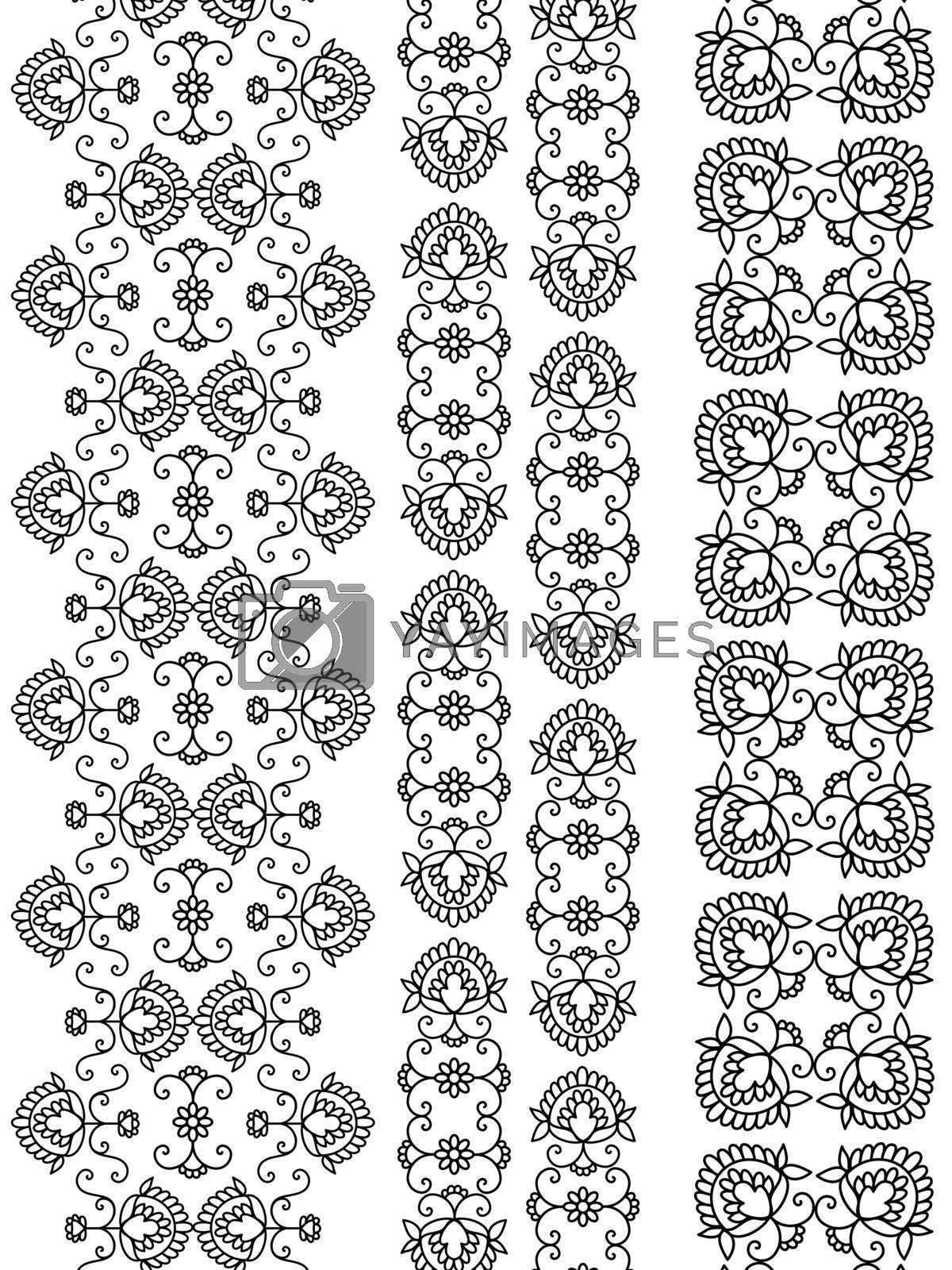 Detailed Henna art Inspired Border designs, elaborate and easily editable.