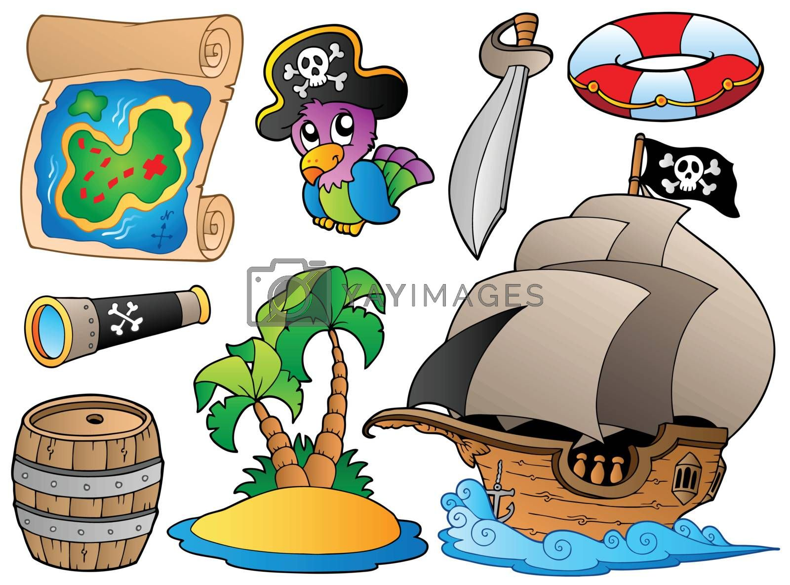 Set of various pirate objects by clairev