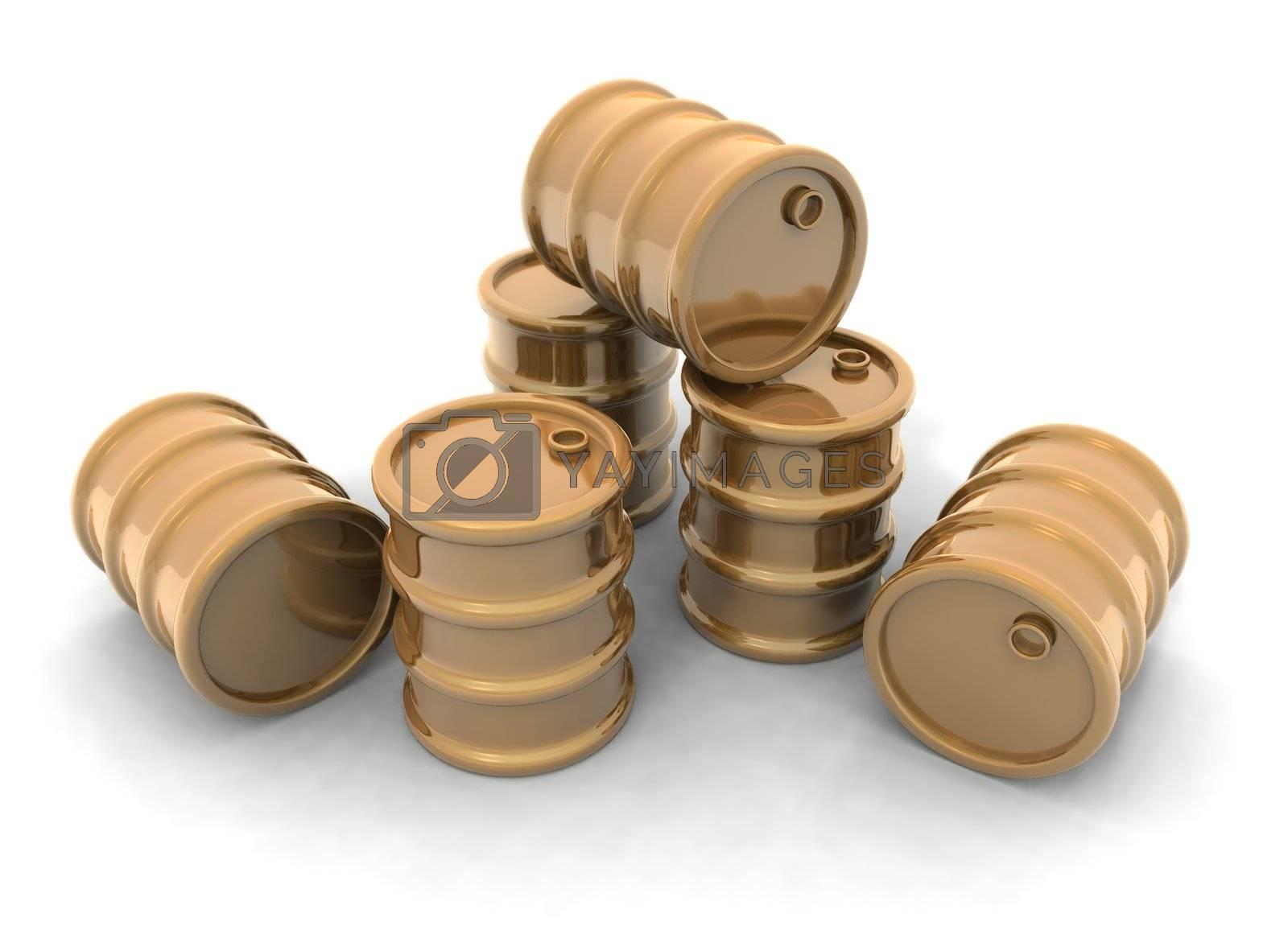a 3D rendering of some golden barrels