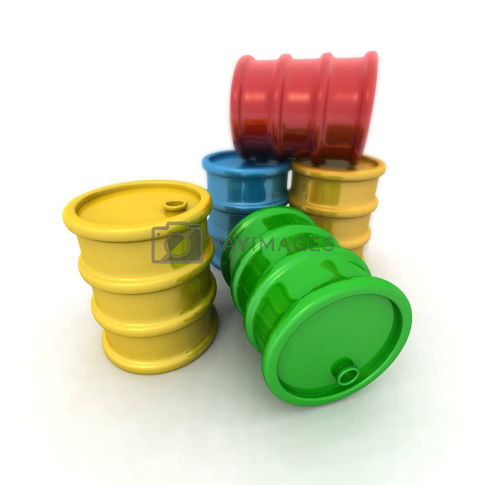 3D rendering of some colored barrels