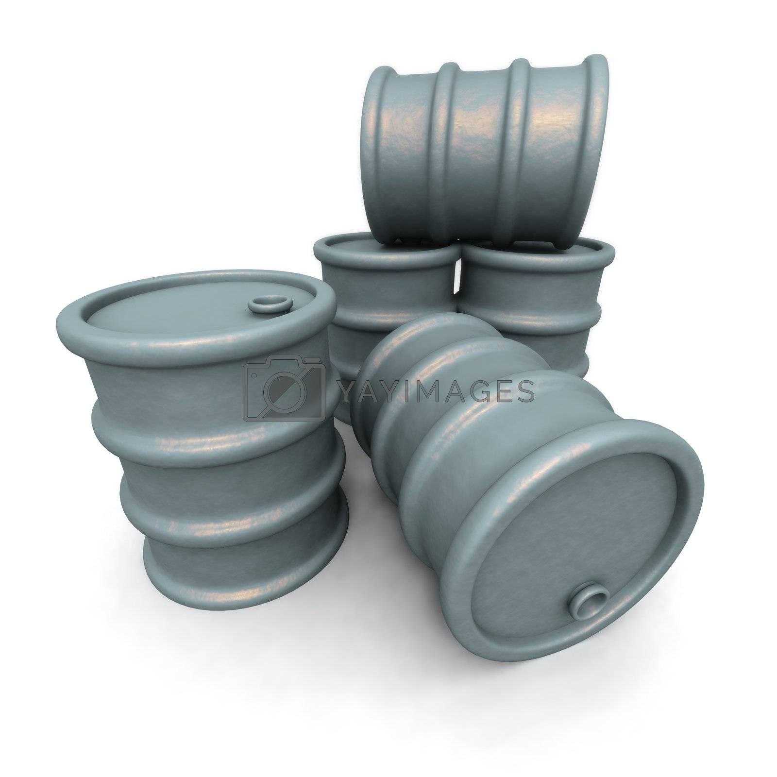 a 3D rendering of some gray barrels