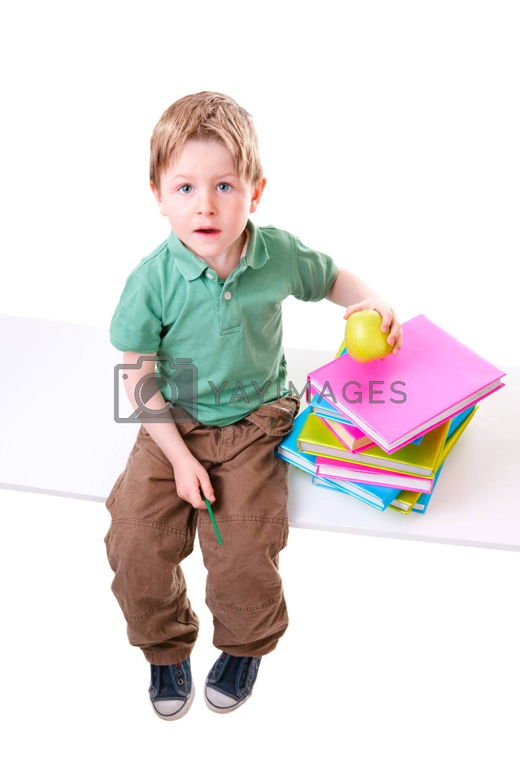Back To School. Little boy with books isolated on white background