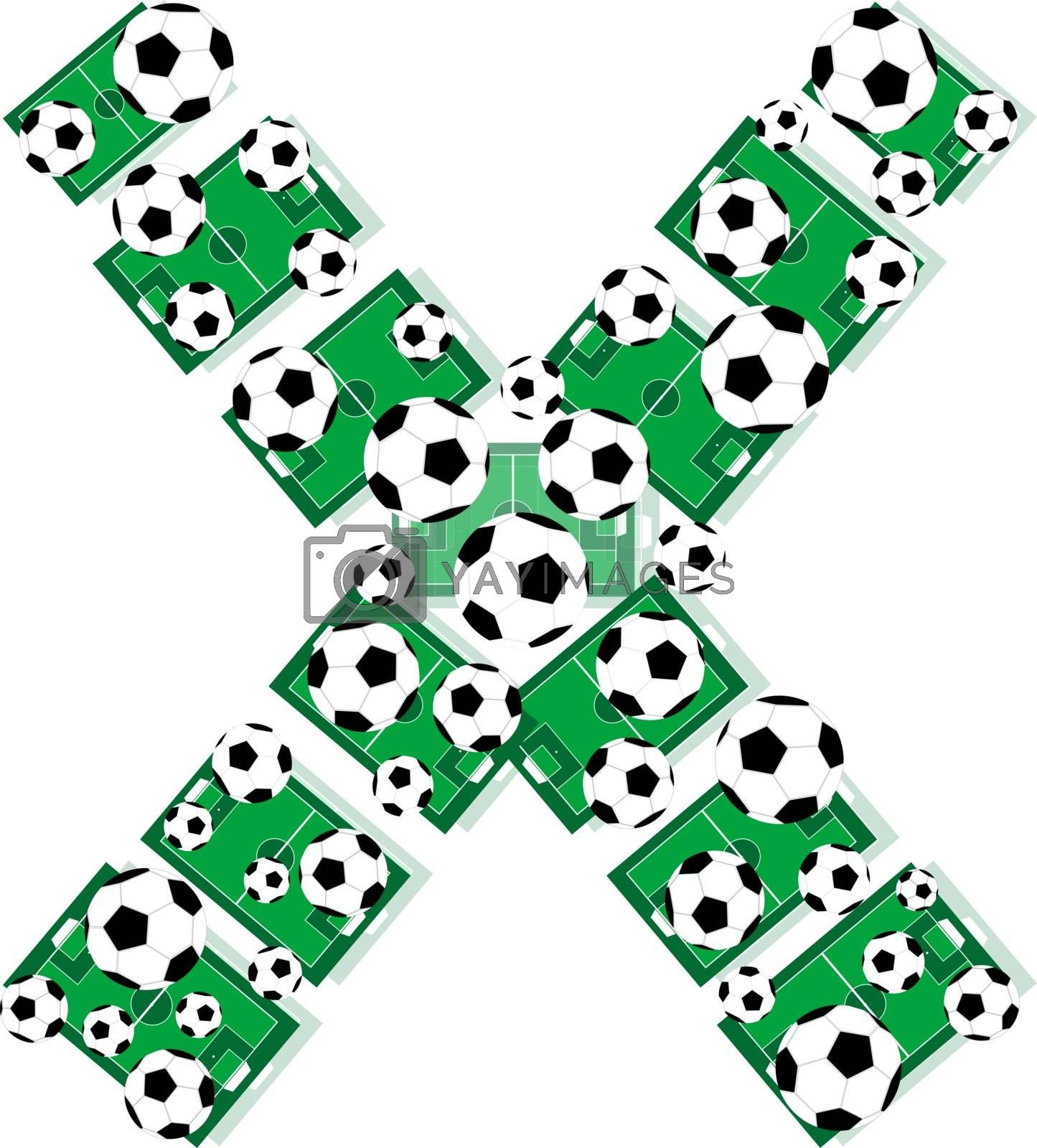 X, Alphabet Football letters made of soccer balls and fields. Vector