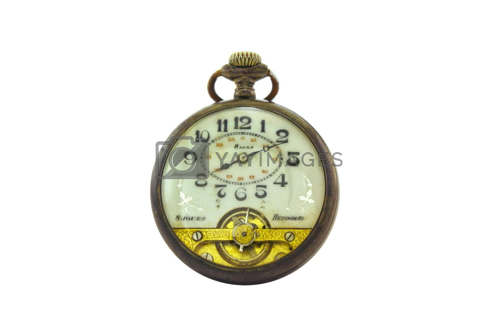 Old pocket watch, made in Swiss of Hebdomas Brand. With gold and silver. 1910.